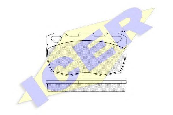Комплект тормозных колодок, дисковый тормоз ICER 140799