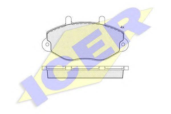 Комплект тормозных колодок, дисковый тормоз ICER 140897