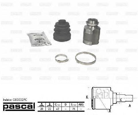 PASCAL (НОМЕР: G80302PC) Шарнирный комплект, приводной вал