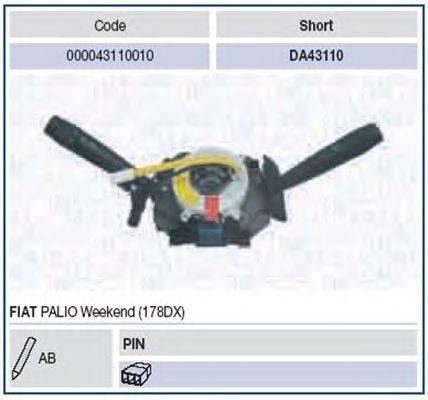 Выключатель на колонке рулевого управления MAGNETI MARELLI 000043110010