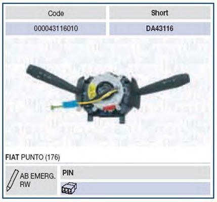 Выключатель на колонке рулевого управления MAGNETI MARELLI 000043116010