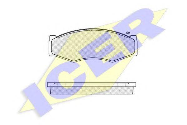 Комплект тормозных колодок, дисковый тормоз ICER 140526