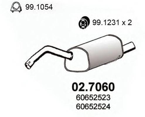 Глушитель выхлопных газов конечный ASSO 02.7060