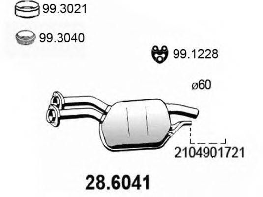 Средний глушитель выхлопных газов ASSO 28.6041