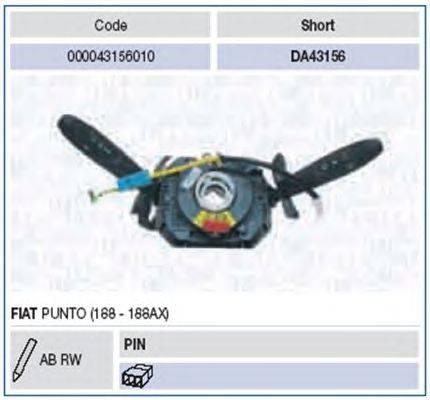Выключатель на колонке рулевого управления MAGNETI MARELLI 000043156010