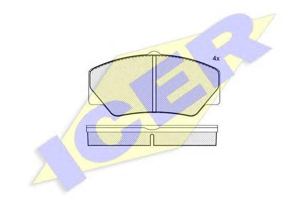Комплект тормозных колодок, дисковый тормоз ICER 140542