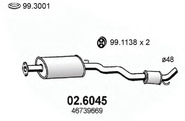 Средний глушитель выхлопных газов ASSO 02.6045