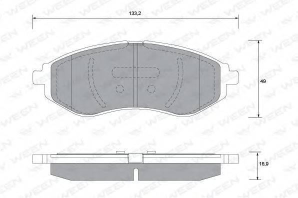 Комплект тормозных колодок, дисковый тормоз WEEN 151-1179