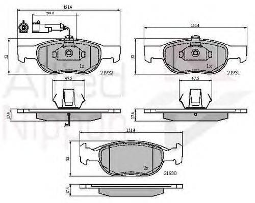 COMLINE (НОМЕР: ADB1479) Комплект тормозных колодок, дисковый тормоз