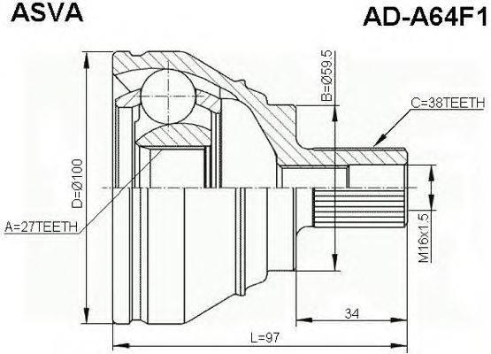 Шарнирный комплект, приводной вал ASVA AD-A64F1
