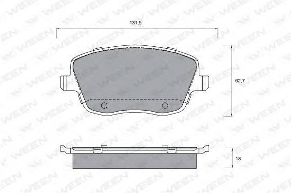 Комплект тормозных колодок, дисковый тормоз WEEN 151-1341