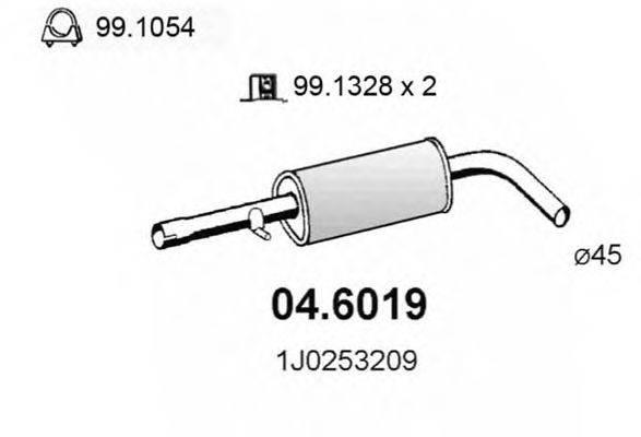 Средний глушитель выхлопных газов ASSO 04.6019
