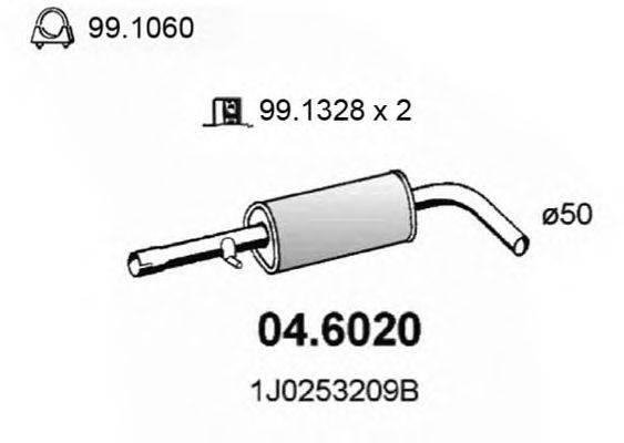 Средний глушитель выхлопных газов ASSO 04.6020