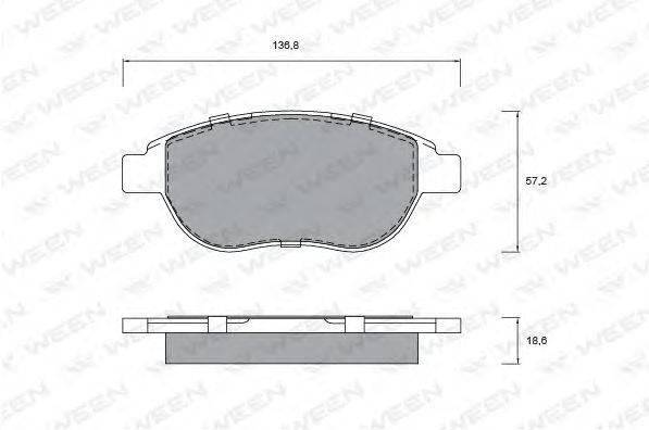Комплект тормозных колодок, дисковый тормоз WEEN 151-1277