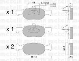 METELLI (НОМЕР: 22-0079-0) Комплект тормозных колодок, дисковый тормоз