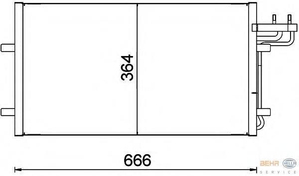 Конденсатор, кондиционер BEHR HELLA SERVICE 8FC 351 301-734