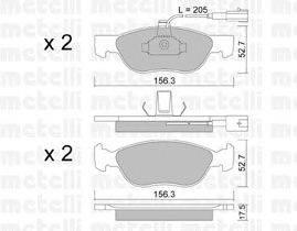 METELLI (НОМЕР: 22-0082-1) Комплект тормозных колодок, дисковый тормоз
