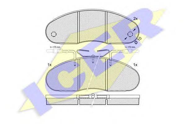 Комплект тормозных колодок, дисковый тормоз ICER 140560