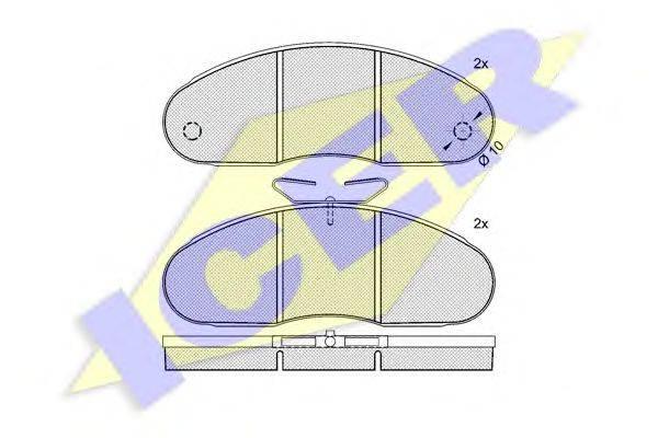 Комплект тормозных колодок, дисковый тормоз ICER 140316