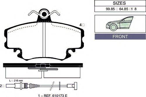 Комплект тормозных колодок, дисковый тормоз GOODWILL 1013 F
