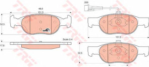 TRW (НОМЕР: GDB1291) Комплект тормозных колодок, дисковый тормоз