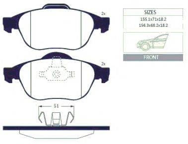 Комплект тормозных колодок, дисковый тормоз GOODWILL 1069 F