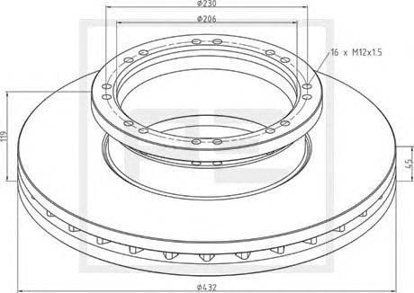 Тормозной диск PE Automotive 036.132-00A